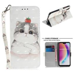 Cute Tomato Cat 3D Painted Leather Wallet Phone Case for Huawei P20 Lite