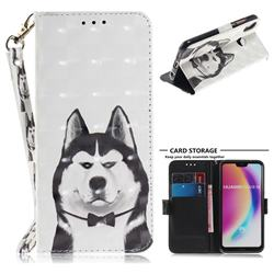 Husky Dog 3D Painted Leather Wallet Phone Case for Huawei P20 Lite