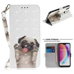 Pug Dog 3D Painted Leather Wallet Phone Case for Huawei P20 Lite