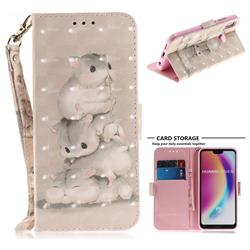 Three Squirrels 3D Painted Leather Wallet Phone Case for Huawei P20 Lite
