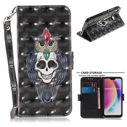 Skull Cat 3D Painted Leather Wallet Phone Case for Huawei P20 Lite