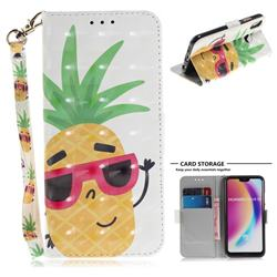 Pineapple Glasses 3D Painted Leather Wallet Phone Case for Huawei P20 Lite