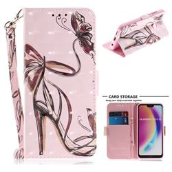 Butterfly High Heels 3D Painted Leather Wallet Phone Case for Huawei P20 Lite