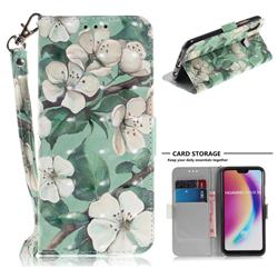Watercolor Flower 3D Painted Leather Wallet Phone Case for Huawei P20 Lite
