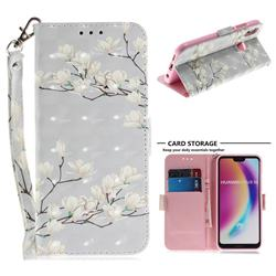 Magnolia Flower 3D Painted Leather Wallet Phone Case for Huawei P20 Lite