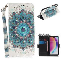Peacock Mandala 3D Painted Leather Wallet Phone Case for Huawei P20 Lite