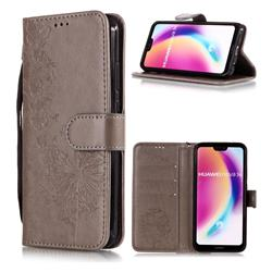 Intricate Embossing Dandelion Butterfly Leather Wallet Case for Huawei P20 Lite - Gray