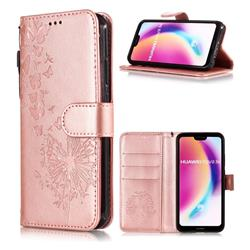 Intricate Embossing Dandelion Butterfly Leather Wallet Case for Huawei P20 Lite - Rose Gold