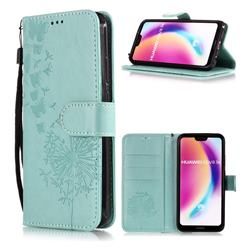 Intricate Embossing Dandelion Butterfly Leather Wallet Case for Huawei P20 Lite - Green