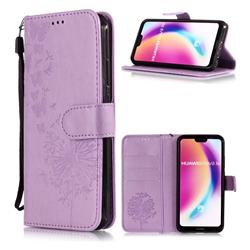 Intricate Embossing Dandelion Butterfly Leather Wallet Case for Huawei P20 Lite - Purple