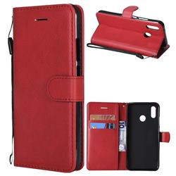 Retro Greek Classic Smooth PU Leather Wallet Phone Case for Huawei P20 Lite - Red