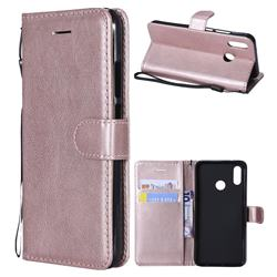 Retro Greek Classic Smooth PU Leather Wallet Phone Case for Huawei P20 Lite - Rose Gold