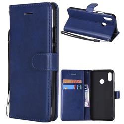 Retro Greek Classic Smooth PU Leather Wallet Phone Case for Huawei P20 Lite - Blue