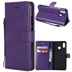 Retro Greek Classic Smooth PU Leather Wallet Phone Case for Huawei P20 Lite - Purple