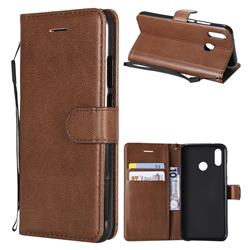 Retro Greek Classic Smooth PU Leather Wallet Phone Case for Huawei P20 Lite - Brown
