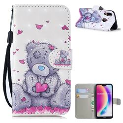 Love Panda 3D Painted Leather Wallet Phone Case for Huawei P20 Lite