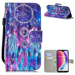 Star Wind Chimes 3D Painted Leather Wallet Phone Case for Huawei P20 Lite