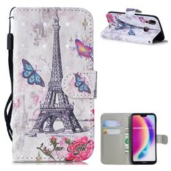 Paris Tower 3D Painted Leather Wallet Phone Case for Huawei P20 Lite