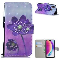 Purple Flower 3D Painted Leather Wallet Phone Case for Huawei P20 Lite