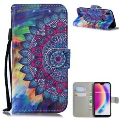 Oil Painting Mandala 3D Painted Leather Wallet Phone Case for Huawei P20 Lite