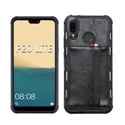 Luxury Shatter-resistant Leather Coated Card Phone Case for Huawei P20 Lite - Black
