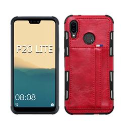 Luxury Shatter-resistant Leather Coated Card Phone Case for Huawei P20 Lite - Red