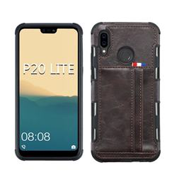 Luxury Shatter-resistant Leather Coated Card Phone Case for Huawei P20 Lite - Coffee