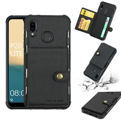 Brush Multi-function Leather Phone Case for Huawei P20 Lite - Black