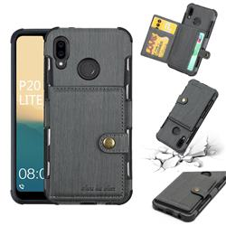 Brush Multi-function Leather Phone Case for Huawei P20 Lite - Gray