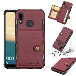 Brush Multi-function Leather Phone Case for Huawei P20 Lite - Wine Red