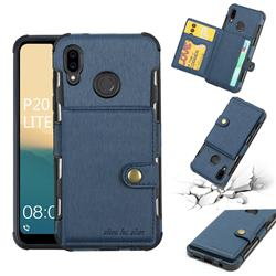 Brush Multi-function Leather Phone Case for Huawei P20 Lite - Blue