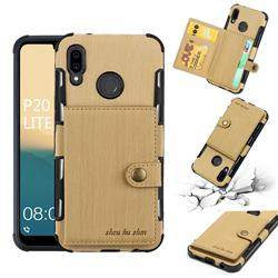Brush Multi-function Leather Phone Case for Huawei P20 Lite - Golden