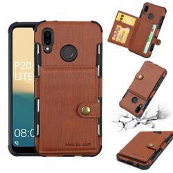 Brush Multi-function Leather Phone Case for Huawei P20 Lite - Brown