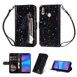 Glitter Shine Leather Zipper Wallet Phone Case for Huawei P20 Lite - Black
