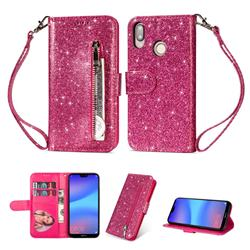 Glitter Shine Leather Zipper Wallet Phone Case for Huawei P20 Lite - Rose
