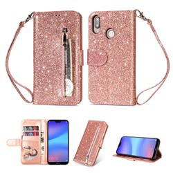 Glitter Shine Leather Zipper Wallet Phone Case for Huawei P20 Lite - Pink