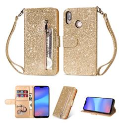 Glitter Shine Leather Zipper Wallet Phone Case for Huawei P20 Lite - Gold