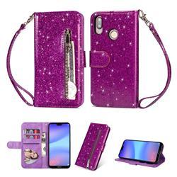 Glitter Shine Leather Zipper Wallet Phone Case for Huawei P20 Lite - Purple