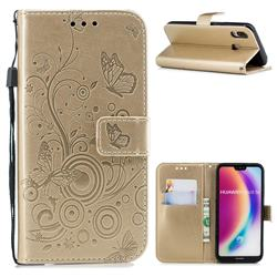 Intricate Embossing Butterfly Circle Leather Wallet Case for Huawei P20 Lite - Champagne