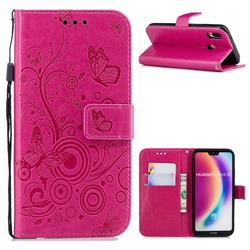 Intricate Embossing Butterfly Circle Leather Wallet Case for Huawei P20 Lite - Red