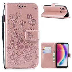 Intricate Embossing Butterfly Circle Leather Wallet Case for Huawei P20 Lite - Rose Gold