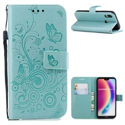 Intricate Embossing Butterfly Circle Leather Wallet Case for Huawei P20 Lite - Cyan