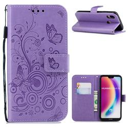 Intricate Embossing Butterfly Circle Leather Wallet Case for Huawei P20 Lite - Purple