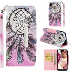 Angel Monternet Big Metal Buckle PU Leather Wallet Phone Case for Huawei P20 Lite