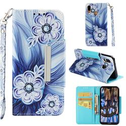 Button Flower Big Metal Buckle PU Leather Wallet Phone Case for Huawei P20 Lite