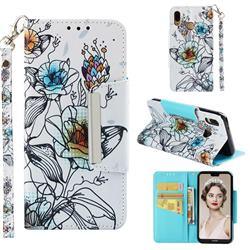 Fotus Flower Big Metal Buckle PU Leather Wallet Phone Case for Huawei P20 Lite