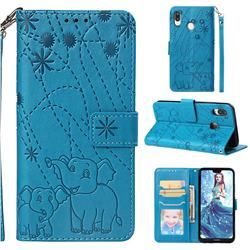 Embossing Fireworks Elephant Leather Wallet Case for Huawei P20 Lite - Blue