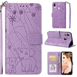 Embossing Fireworks Elephant Leather Wallet Case for Huawei P20 Lite - Purple