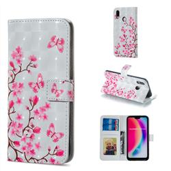 Butterfly Sakura Flower 3D Painted Leather Phone Wallet Case for Huawei P20 Lite