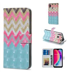Color Wave 3D Painted Leather Phone Wallet Case for Huawei P20 Lite